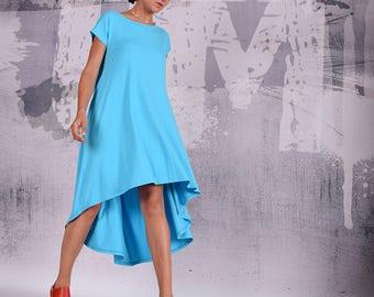 Turquoise Dress, knee length dress, midi dress, caftan, loose dress, oversize dress, maternity tunic, bohemian dress, urbanmood, um-197-vl