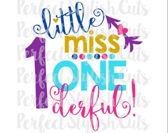 Little Miss One-derful SVG, DXF, EPS, png Files for Cutting Machines Cameo or Cricut - Birthday svg, 1st Birthday Svg, First Birthday Svg