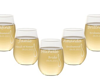 7 Custom Engraved Stemless Wine Glasses / 16 DESIGNS! / Personalized Wedding Party Gifts / Etched / Bridesmaids / Groomsmen / Wedding Party