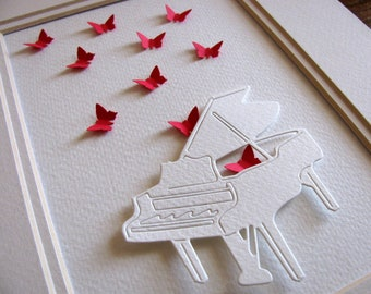 5X7 - 3D Ivory Piano with 3D Fluttering Mini Butterflies as Shown or YOUR Choice of Colors / Option to Personalize / Made to Order