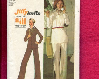1970's Simplicity 6550 Zipper Front Pop Up Collar Tunic & Flared Pants Size 12