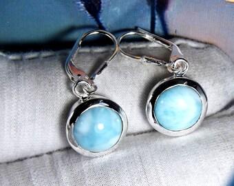 Larimar earring, Lever Back Hook Earring, Teardrop Larimar Earring, Larimar Gemstone Earring, Round Stone Earring, Unique Earring,Size- 10MM