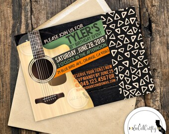 Rock And Roll Birthday Party Invitation, Guitar Invite, Concert Ticket, Poster, DIY, Printed or Printable Invitations, Free Shipping