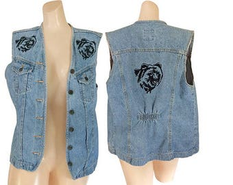 90s Denim Vest Women Blue Jean Vest Black Bear 1990s Vest Jacket Hipster Clothing Women Embroidered Denim 90s Clothing Women 90s Clothes