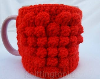 Hand crocheted mug cosy - red heart - valentine's day gift - mother's day gift - mug cosies - mug hug - gifts for her