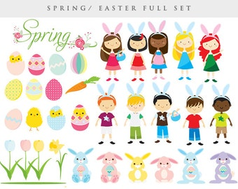 Easter clipart -Easter clip art spring clip art Easter bunny chicks rabbits eggs girls boys, daffodil flowers tulips personal commercial use