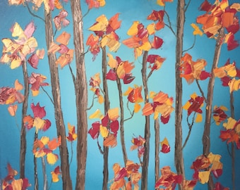 """20"""" x 20"""" Fall Leaves Oil Painting"""