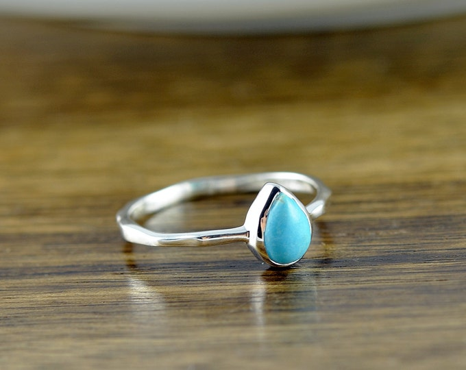 Sterling Silver Pear Turquoise Ring, Turquoise Ring - December Birthstone Ring - Gem Ring - Solitaire Ring - Stackable Ring - Tear Drop Ring