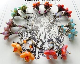Fairy Flower Earrings, Pixie Flower Earrings, Boho Earrings, Dangle Earrings, Czech Glass, Elf Earrings, Drop Earrings