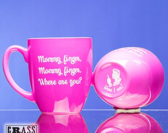 Mommy finger, Mommy finger, Where are you? pink coffee mug - nursery rhyme - Here I am - gift for new mom - mommy finger song - stressed mom