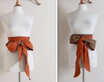 dual tone  linen slim obi sash / linen chic gift / gift for her / obi sash / belt / women accessories /kimono obi