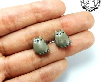 Pusheen Inspired Stud Earrings, Surgical Steel Posts