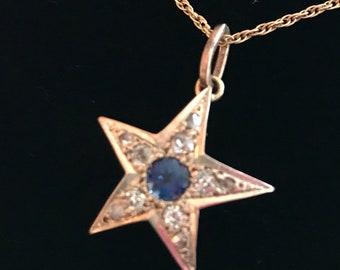 A Sapphire & Diamond Victorian 9ct gold star pendant