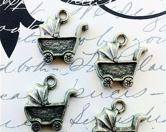Baby Carriage Charms -4 pieces-(Antique Pewter Silver Finish)--style 683--