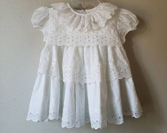 Vintage Girls White Eyelet Lace Tiered Dress by C.I. Castro- Size 12 months - New, never worn- Easter Dress