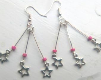 Pink star burst earrings
