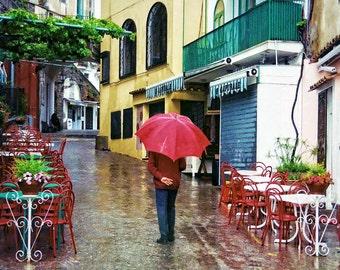 Man Walking, Positano Italy,  Walking In The Rain, Amalfi Coast Print, Red Umbrella, Italy  Decor, Large Wall Art, Art Print, Rainy Day