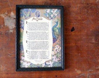 "Antique Vintage Framed 1920s Buzza Motto Print ""IF, for Girls"" JP McEvoy"