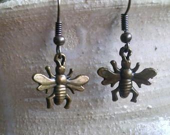 Bee earrings antique bronze finish