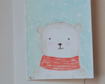 Hand Painted Polar Bear Watercolor Greeting Card