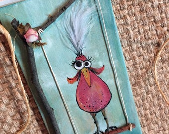 OOAK handpainted silly bird art by Angela Anderson