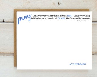 Philippians 4:6 Pray Stationery-Name Bottom-Personalized Christian Stationary-Don't worry about anything, instead PRAY about everything.
