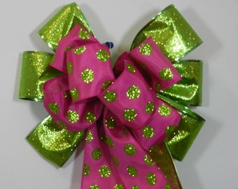 Basket/wreath Decorative Bow Birthday bow Pink and green polka dots