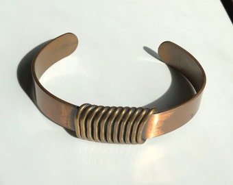 Vintage Copper Cuff Bracelet With Embossed Wire Wrapped Design