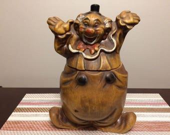 California Pottery Clown Cookie Jar 1950s