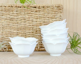 Lotus Bowls, small, white, set of 8, porcelain, mid century, asian, japanese