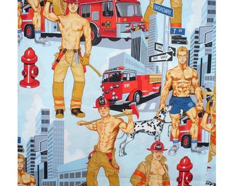 Ready For Action - Blue Pinup Firemen Fabric - Alexander Henry - BTY