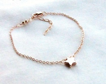Rose Gold Star Bracelet, Adjustable from 7.5 to 9in - Delicate Wire Wrapped Charm Bracelet