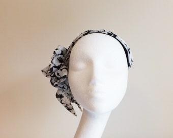 Black and White Chiffon headband