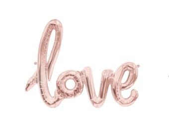 "rose gold Love Balloon script font/ 40"" balloon banner/ air fill only/ script balloon/wedding balloon/ jumbo balloon/"