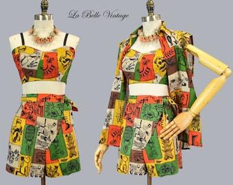 Tribal Tiki Print 40s Beach Playsuit S Vintage Sarong Shorts Bra Top Cover-up Set
