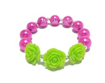 Toddler or Girls Lime Green Flower Small Beaded Bracelet - Girls Hot Pink and Green Bracelet - Triple Rose Bracelet - Tropical Bead Bracelet