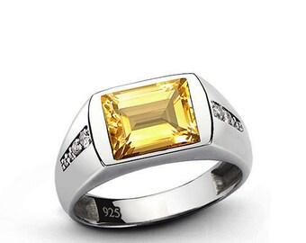 925 Sterling Silver Natural Gem Stone Cittrine & White Topaz Men's Ring Jewelry