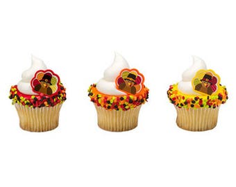 12 Turkey Cupcake Rings Fall Festival Thanksgiving Toppers Party Favors