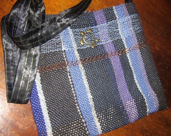 Handwoven GYPSY PURSE, Black, Purple, Blue, copper accents, Sea Turtle Focal, Black satin strap over stitched, quality, durable, artisan