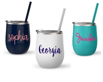 12 oz stainless steel bev 2 go cup, personalized tumblers, wedding party cup, stocking stuffer, stainless steel tumblers, cup with straw