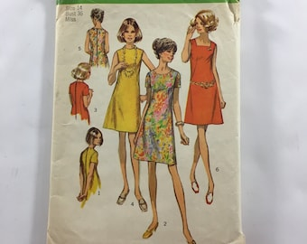 Vintage Simplicity 8882 Size 14 Day or Evening Dress Sewing Pattern 1970s Retro