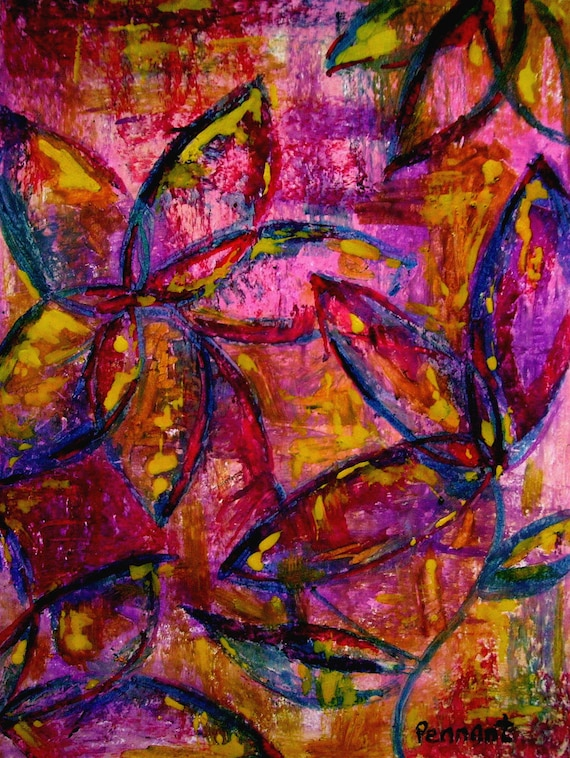 Abstract Flower Drawing Small Oil Pastel Drawing Abstract