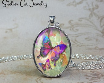 Butterfly Dance Necklace - Blue and Purple - Oval Pendant or Key Ring - Handmade Wearable Photo Art Jewelry - Nature art - Gift for her