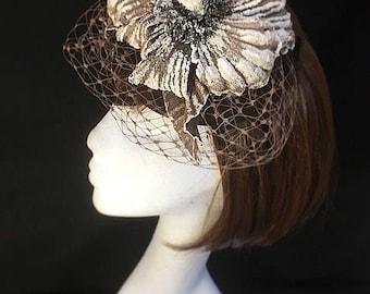 Brown wedding hat, wedding flower hat, headdress, Wedding hat, wedding fascinator, Vintage hat, veiled fascinator