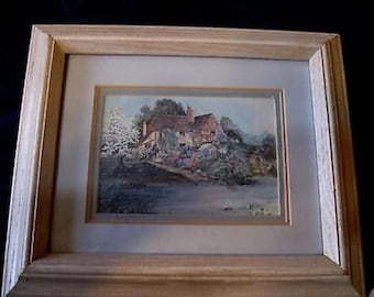 Vintage Interior Home Framed Picture of Lakeside Cottage 11 x 13 CL24-2