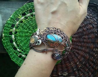 Chameleon bracelet Wire wrapped cuff Wire wrap bracelet Copper jewelry