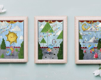 Circus Act Triptych, Nursery Art Print Set