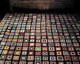 Vintage Granny Squares Rug Afghan Crochet Pattern - Crochet Wall Hanging - Crochet Blanket - PDF Instant Download - Digital Pattern