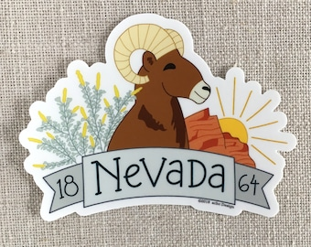 Nevada 1864 Vinyl Sticker / Nevada Big Horn Sheep / Waterproof Sticker / Nevada Red Rocks Sticker / Nevada Sagebrush / Nevada Travel Sticker