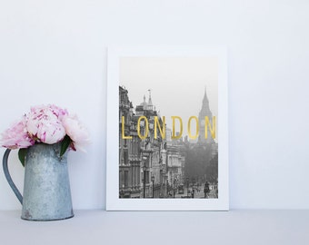 London Photography Print with faux gold
